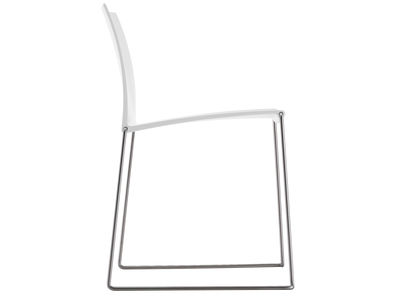 Furniture - Chairs - M1 Stacking chair - Polypropylène seat by MDF Italia - White shell / Steel leg - Plastic material, Stainless steel