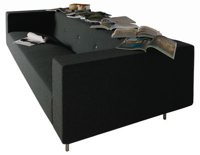 Furniture - Sofas - Bottoni Shelf Straight sofa - 3 seats by Moooi - Black - Wool