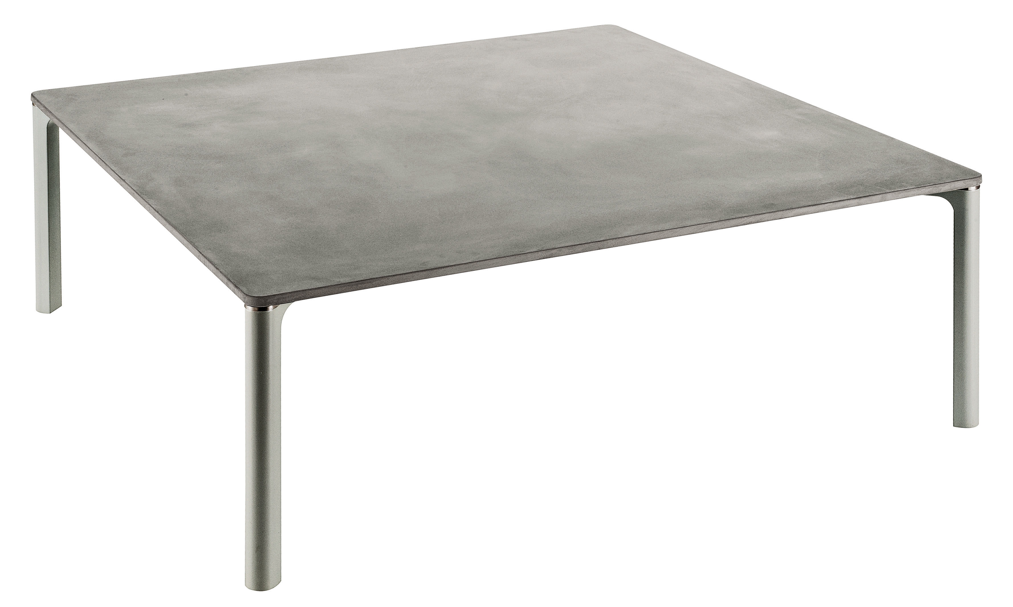 Table basse spillino 110 x 110 cm ciment pieds gris for Couchtisch 110x110