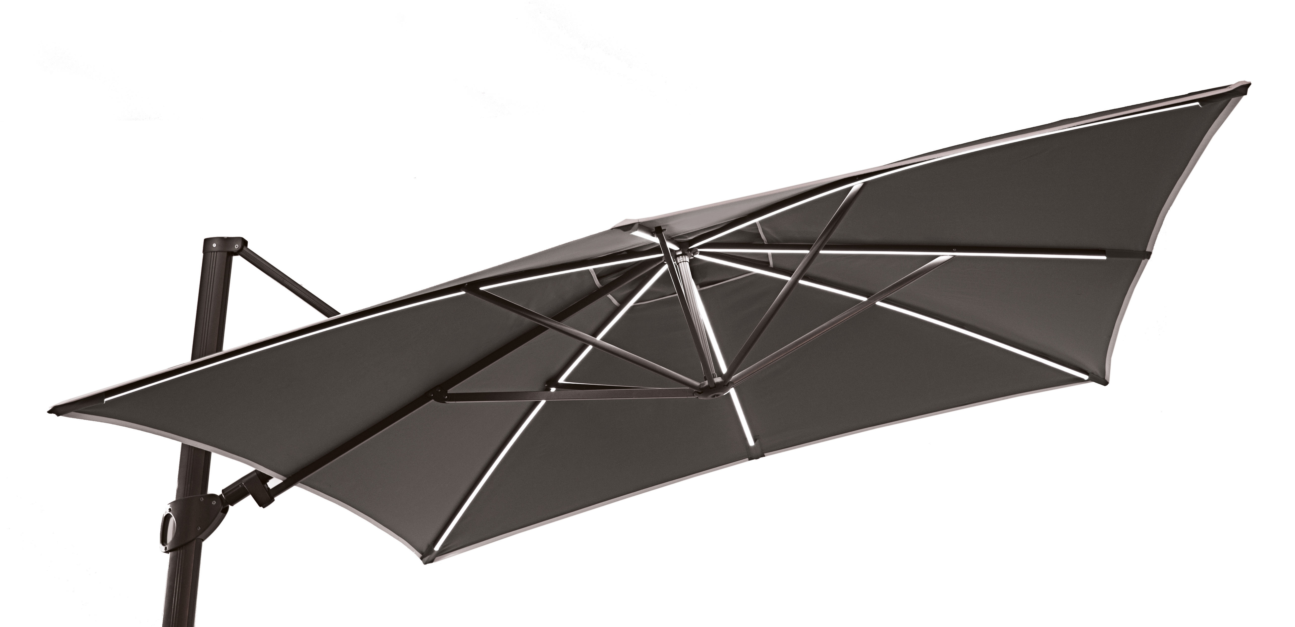 Easy shadow offset umbrella led 300 x 300 cm slate anthracite structure by vlaemynck - Vlaemynck parasol ...