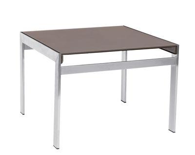 Tavolino basso Ec-Inoks 50 x 50 cm - Sifas - Metallo lucidato,Canapa - Vetro