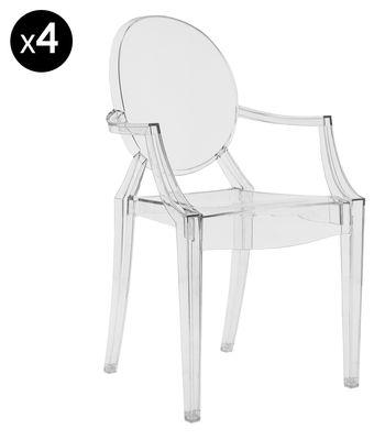 Louis ghost stackable armchair transparent set of 4 - Chaise plastique transparent ikea ...