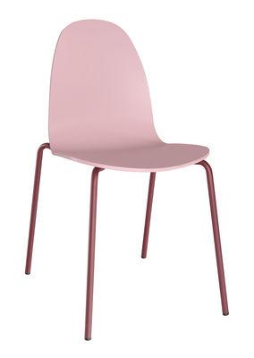 Foto Sedia impilabile Bob / Legno e metallo - Ondarreta - Rosa chiaro,Marsala - Metallo