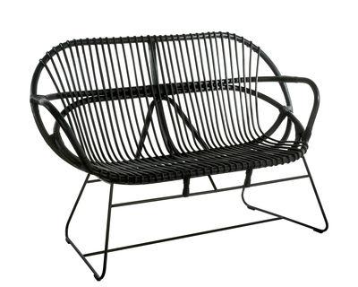 Mobilier - Canapés - Banquette Singapore / Rotin - L 131 cm - Pols Potten - Noir / Pied noir - Acier galvanisé, Rotin teinté