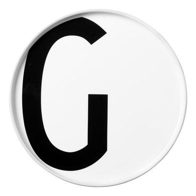 Assiette Arne Jacobsen / Porcelaine - Lettre G - Ø 20 cm - Design Letters blanc en céramique
