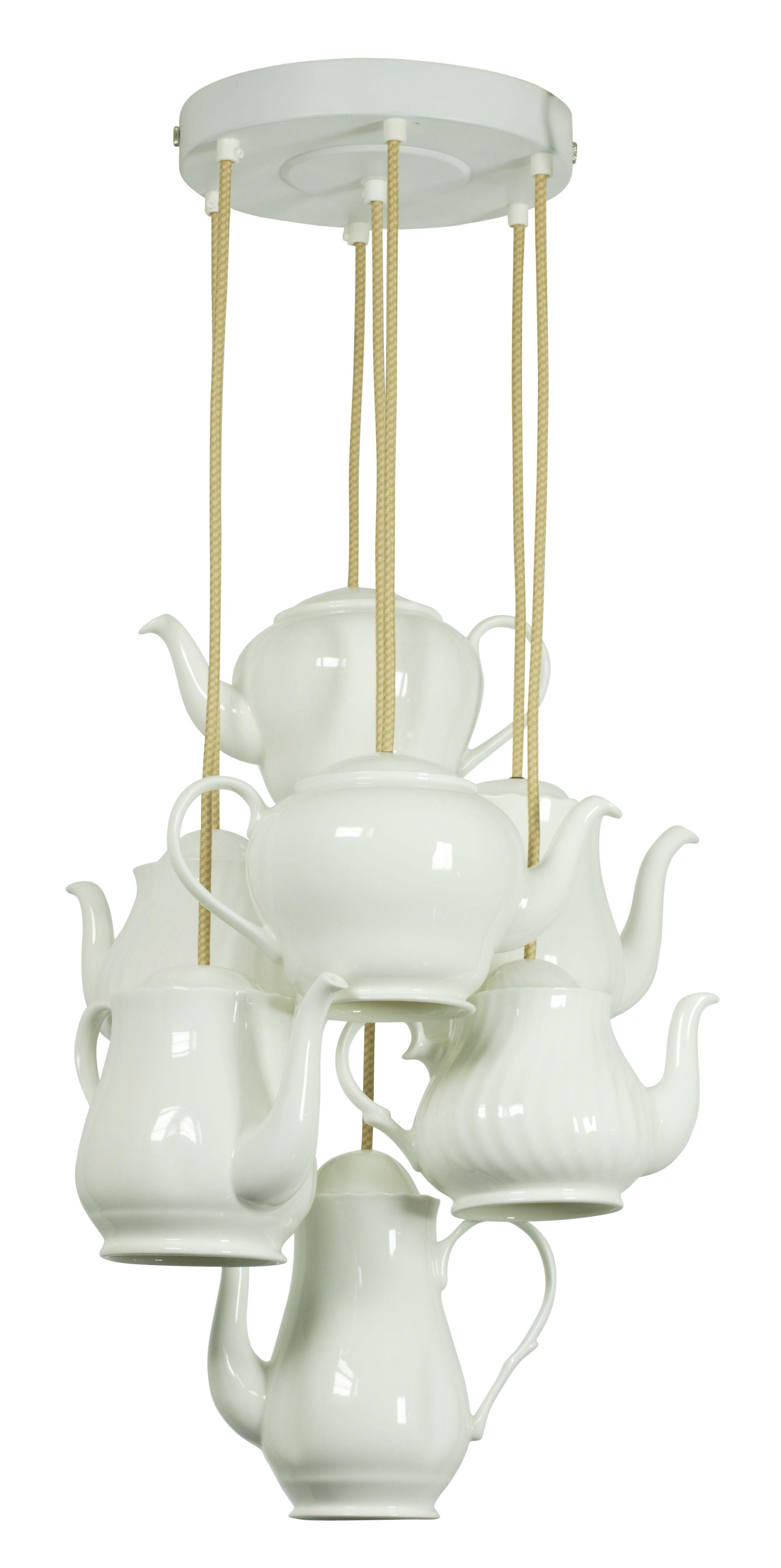 suspension teapot 7 thei res en porcelaine blanc original btc. Black Bedroom Furniture Sets. Home Design Ideas