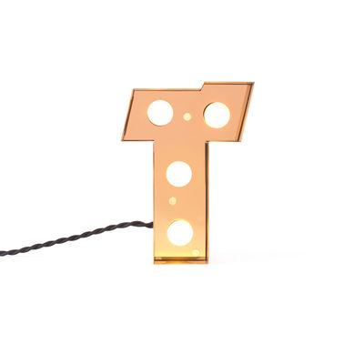 Caractère Tischleuchte / Wandleuchte - Buchstabe T - H 20 cm - Seletti - Gold, glänzend