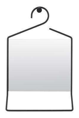 Déco - Miroirs - Miroir mural Hang / Porte-serviettes intégré - H 50 cm - House Doctor - Noir - Métal laqué, Verre