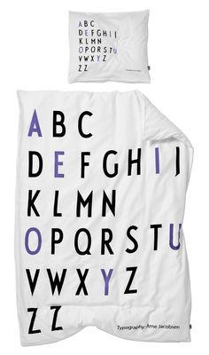 Foto Set da letto bambino Arne Jacobsen / 100 x 140 cm - Design Letters - Bianco,Nero,Viola - Tessuto Biancheria da letto bambino