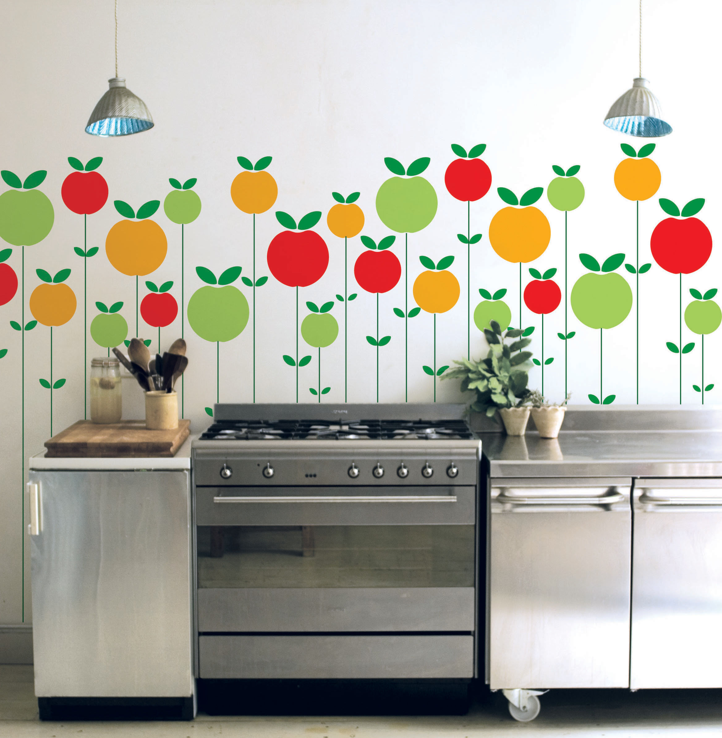 Sticker pom rouge jaune vert domestic made in design for Decoracion para paredes de cocina