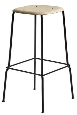 Mobilier - Tabourets de bar - Tabouret haut Soft Edge 30 / H 75 cm - Bois & Métal - Hay - Chêne / Pied noir - Acier laqué, Contreplaqué de chêne verni