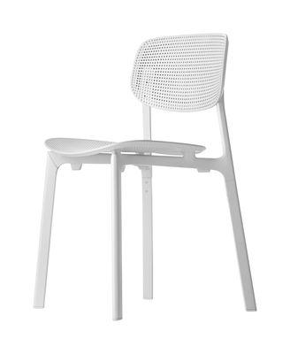 Mobilier - Chaises, fauteuils de salle à manger - Chaise empilable Colander / Polypropylène perforé - Kristalia - Blanc - Aluminium laqué, Polypropylène