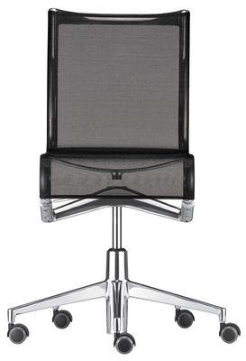 Office Chairs - Chair with castors - Fauteuil à roulettes Rollingframe / Assise souple - Alias - Structure en aluminium chromé / assise en tissu maillé noir - Aluminium, Maille élastique