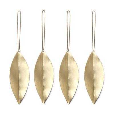 Décoration de Noël Leaf / Laiton - Set de 4 - Ferm Living laiton doré en métal