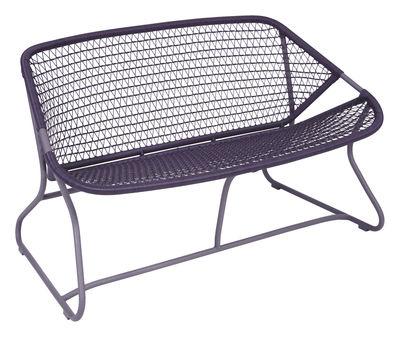 Mobilier - Bancs - Banquette Sixties / L 118 cm - Plastique tressé - Fermob - Prune - Aluminium, Résine polymère