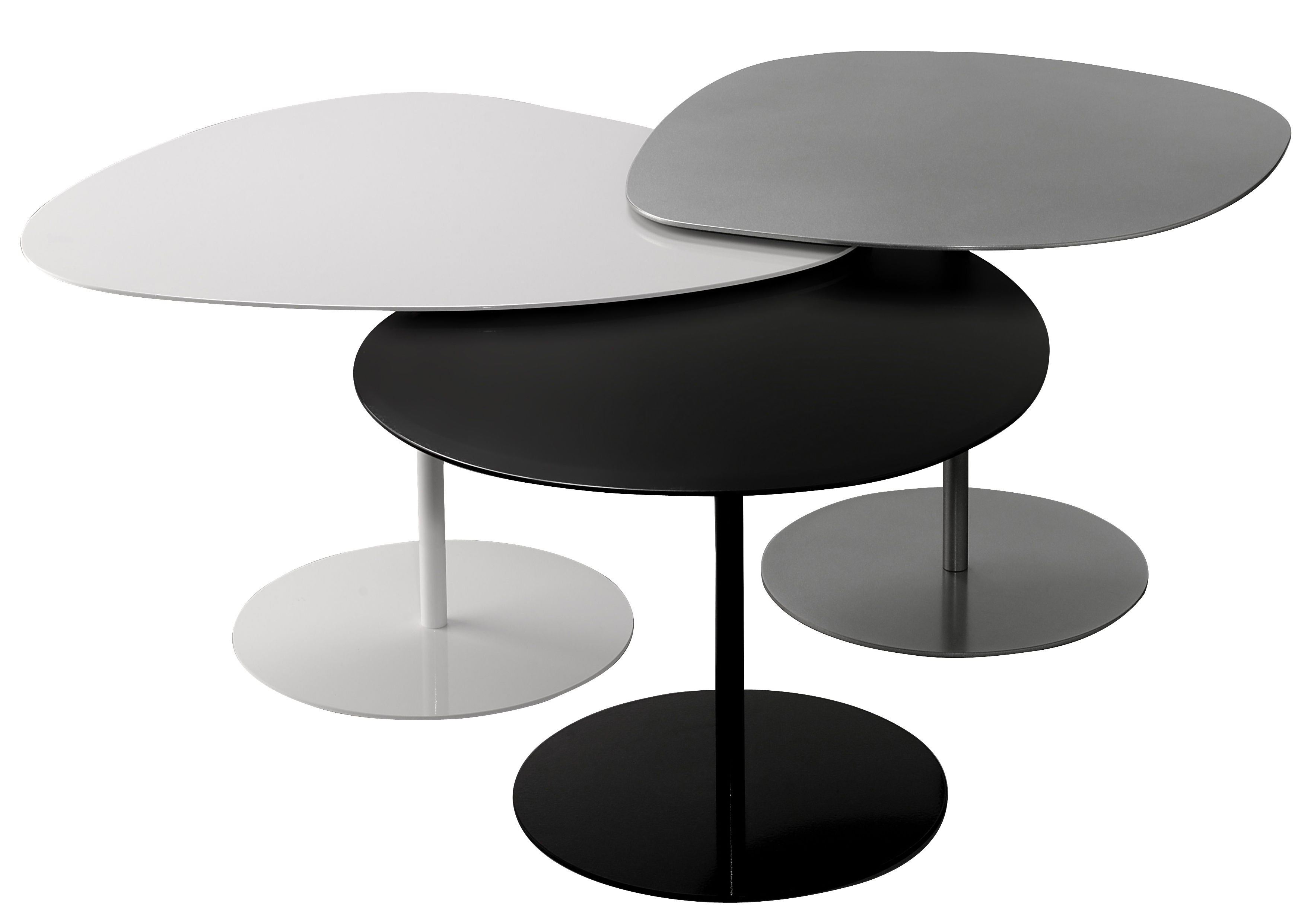 table basse 3 galets 59 x 63 h 40 2 cm blanc mati re grise made in design. Black Bedroom Furniture Sets. Home Design Ideas