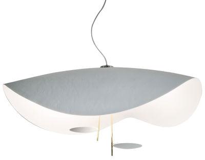 Luminaire - Suspensions - Suspension Lederam S2 / LED - Ø 100 cm - Catellani & Smith - Blanc / Tiges or - Aluminium peint, Fibre de verre, Métal doré