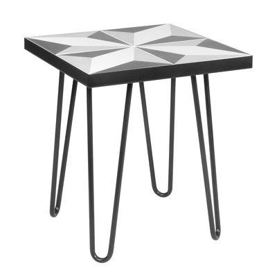 Lisbonne Beistelltisch / Keramik-Fliesen - 41 x 41 cm - POP UP HOME - Grau,Schwarz
