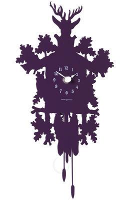 Déco - Horloges  - Horloge murale Cucù Mignon / Avec balancier - H 34 cm - Diamantini & Domeniconi - Aubergine - Acier