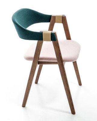 fauteuil rembourr mathilda tissu bois turquoise rose p le fr ne teint moroso made. Black Bedroom Furniture Sets. Home Design Ideas