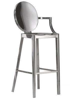 Mobilier - Tabourets de bar - Chaise de bar Kong / H 60 cm - 1 accoudoir - Emeco - H 60 cm / Alu poli - Aluminium poli