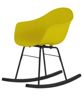 Mobilier - Fauteuils - Rocking chair TA / Patins bois - Toou - Jaune moutarde / Patins noirs - Chêne peint, Métal laqué, Polypropylène