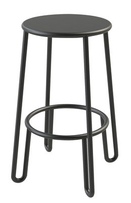 Tabouret de bar Huggy H 65 cm Aluminium Maiori carbone en métal