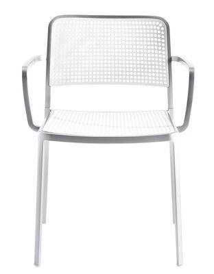 Foto Poltrona impilabile Audrey - struttura alluminio opaco di Kartell - Bianco - Materiale plastico