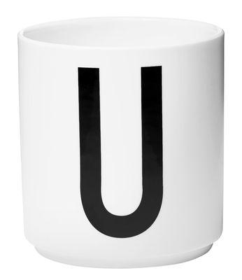 Mug Arne Jacobsen / Porcelaine - Lettre U - Design Letters blanc en céramique