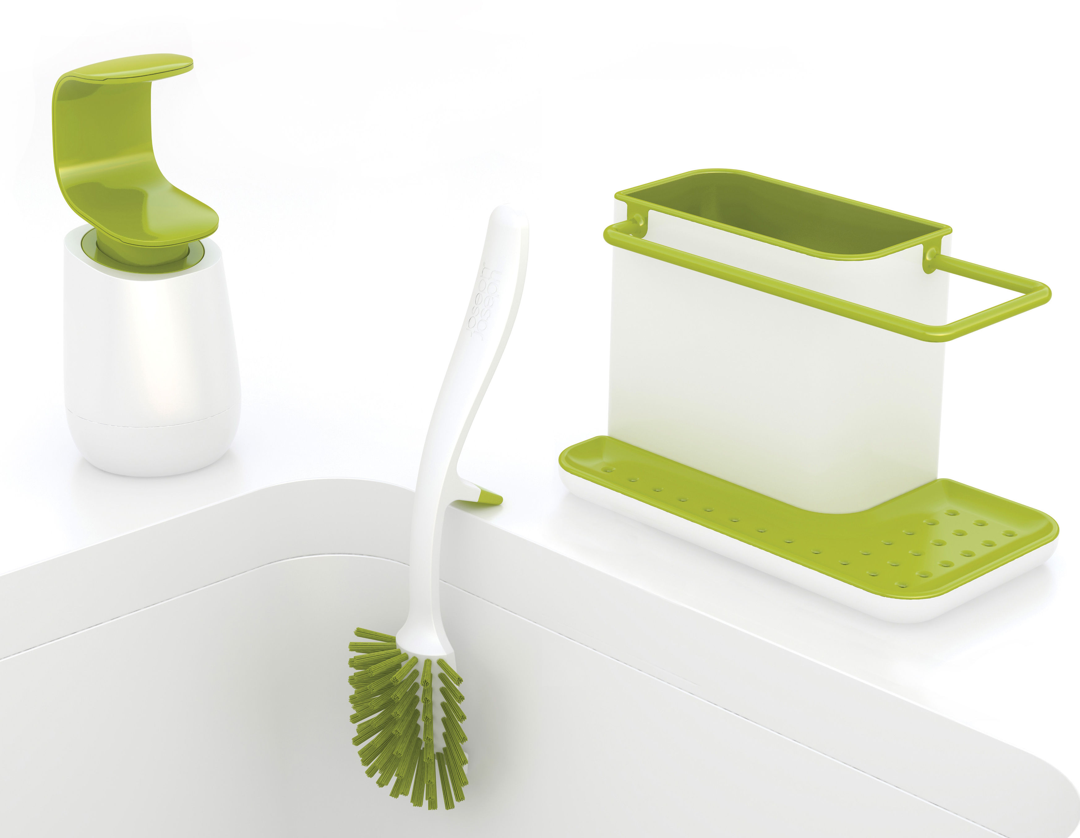Set vier organiseur distributeur savon brosse vert - Distributeur savon integre plan travail ...