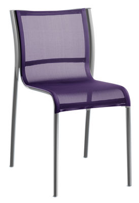 Furniture - Chairs - Paso Doble Stacking chair - Fabric / Polished aluminium by Magis - Polished alu / Purple polyester-cotton - Cloth, Polished aluminium