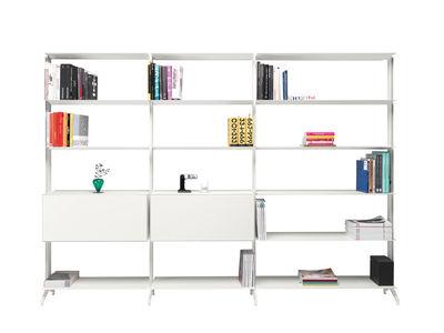 Bibliothèque Aline / 2 tiroirs intégrés - L 302 x H 205,2 cm - Alias blanc en métal