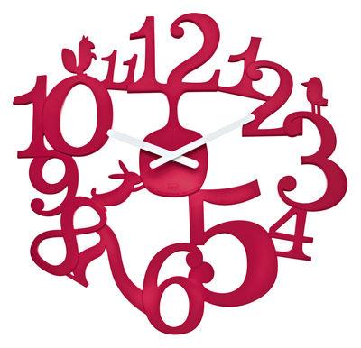 Decoration - Wall Clocks - PI:P Wall clock by Koziol - Raspberry red - Plastic material