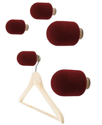 Mobilier - Portemanteaux, patères & portants - Patère Micro / Set de 5 - Moustache - Bordeau - Frêne, Mousse floquée