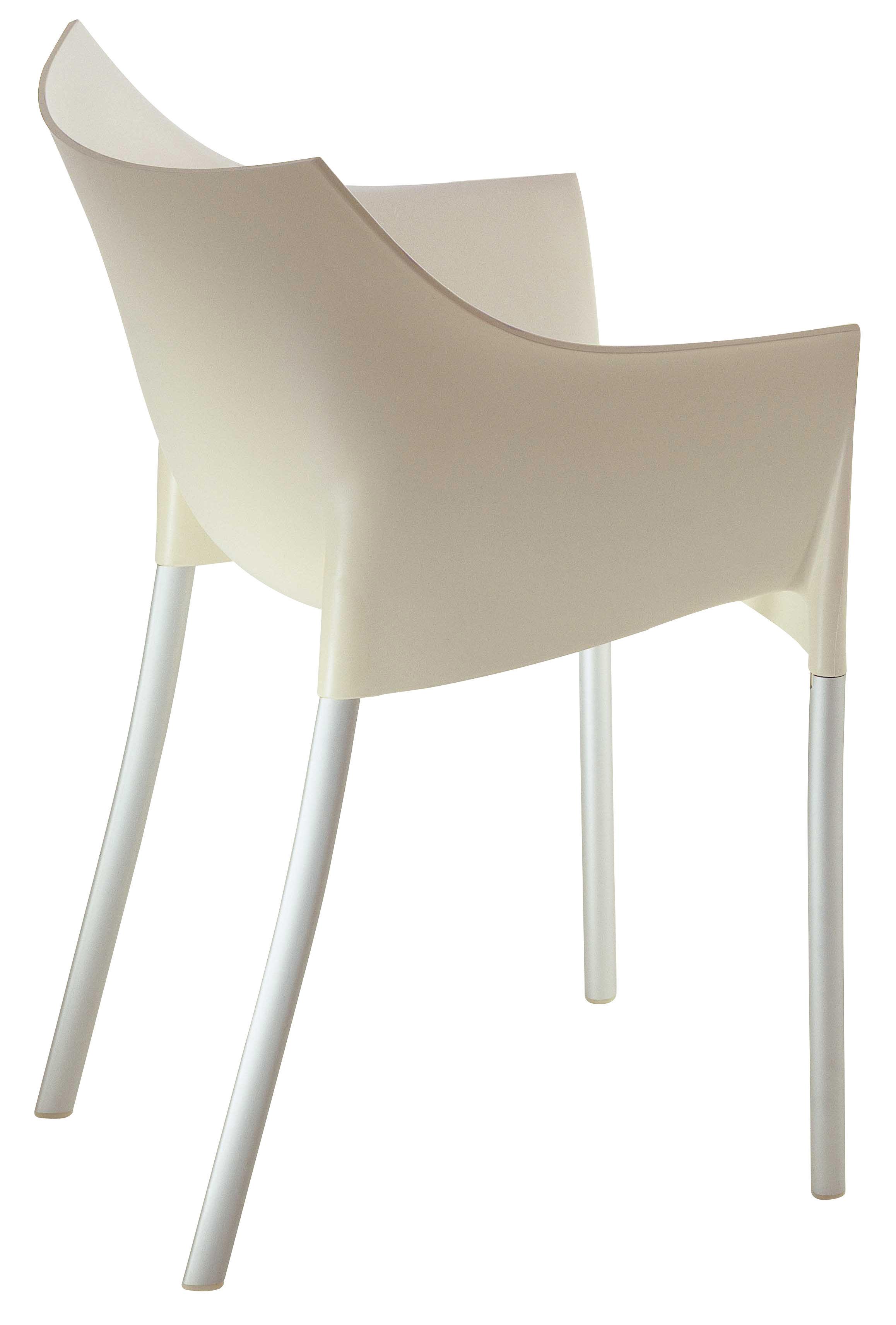 Dr No Stackable Armchair Plastic & Metal Legs White