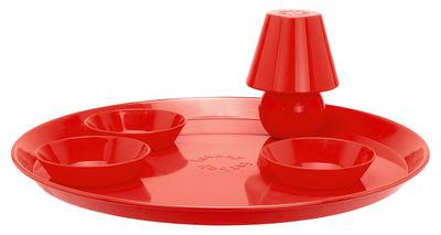 Plateau Snacklight Ø 55 cm / Avec lampe LED aimantée + 3 coupelles - Fatboy rouge en métal
