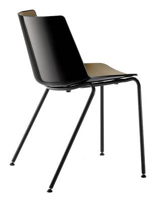 Mobilier - Chaises, fauteuils de salle à manger - Chaise empilable Aïku / Pieds métal ronds - MDF Italia - Noir & intérieur vert kaki / Pieds gris graphite - Acier peint, Polypropylène