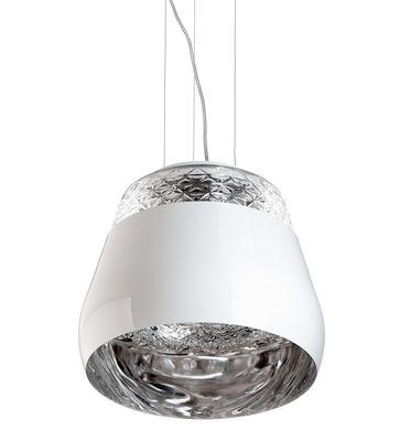 Luminaire - Suspensions - Suspension Valentine Ø 35,5 cm - Moooi - Blanc / Intérieur Chromé - Métal laqué, Verre soufflé