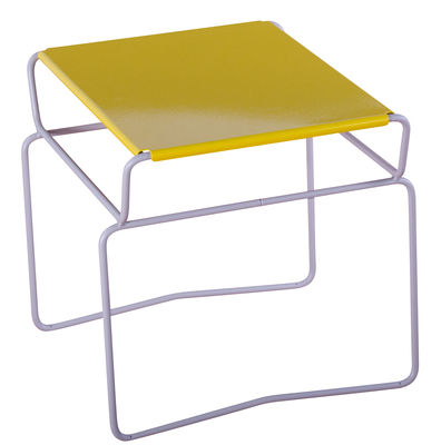 Mobilier - Tables basses - Table basse Fil  Confort / 46 x 41 cm - AA-New Design - Plateau Jaune / Structure Grise - Acier laqué époxy