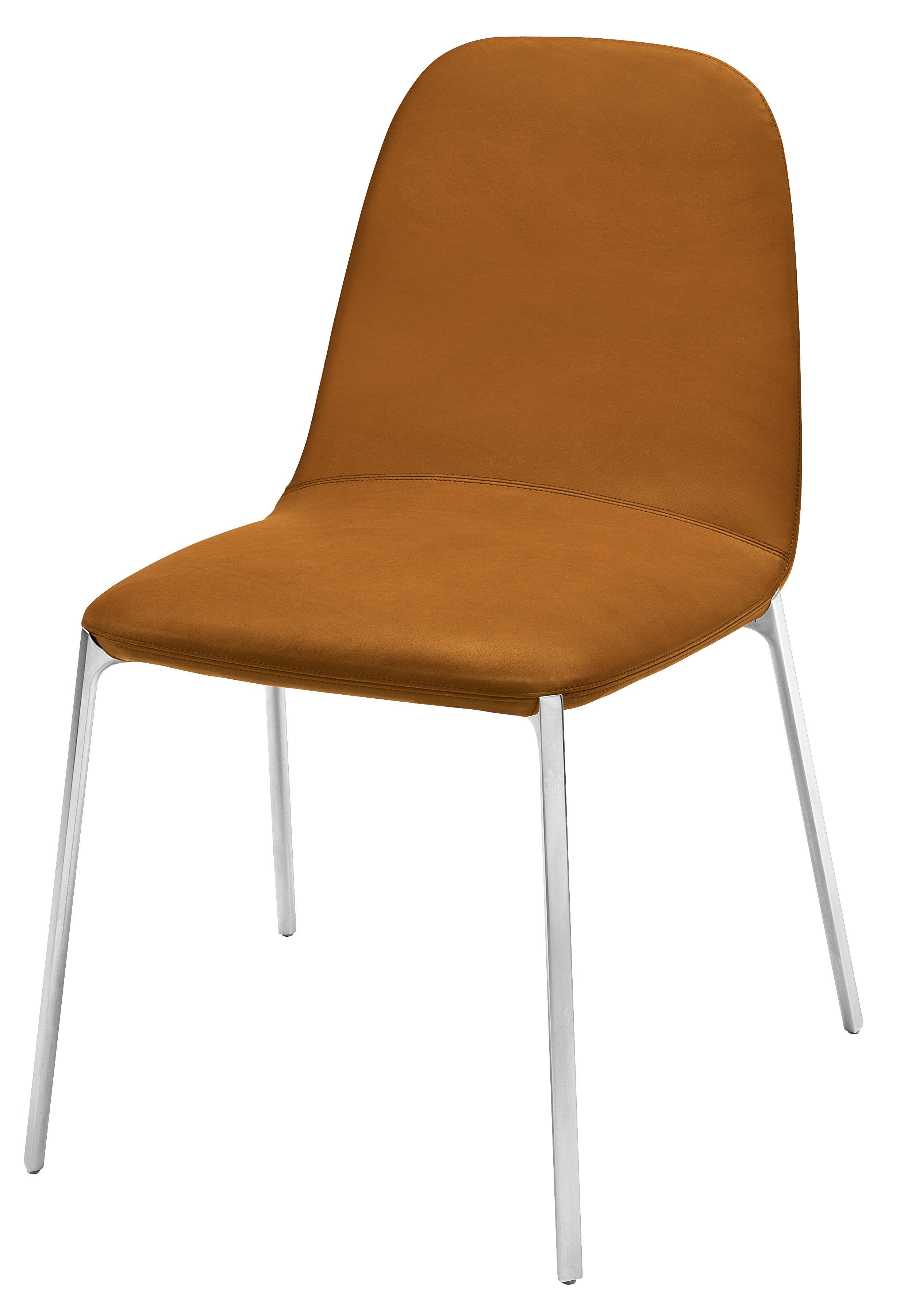 chaise rembourr e ella marron pieds alu poli zanotta. Black Bedroom Furniture Sets. Home Design Ideas