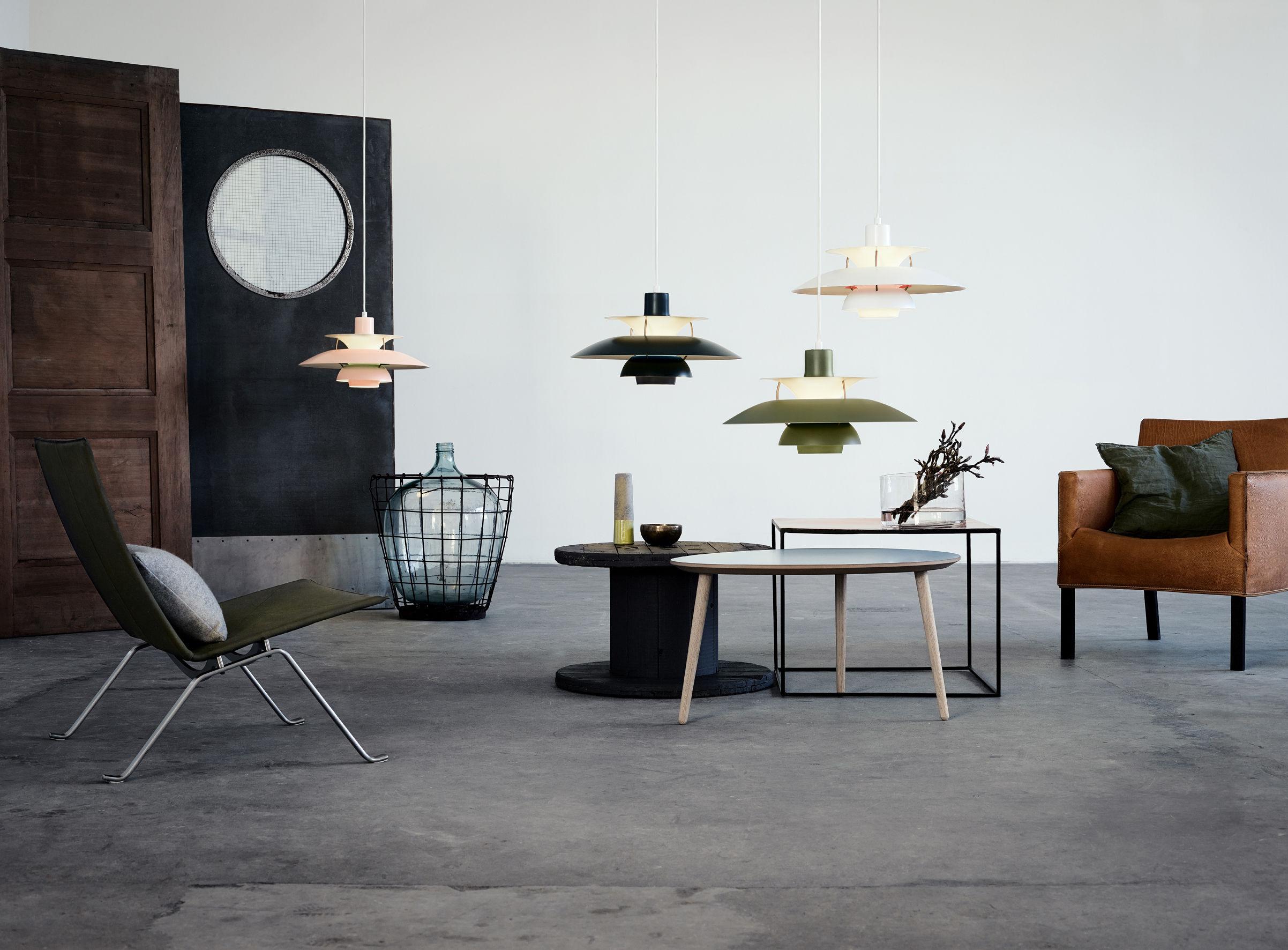 suspension ph 5 50 cm finition mate gris fonc disque interne turquoise louis poulsen. Black Bedroom Furniture Sets. Home Design Ideas