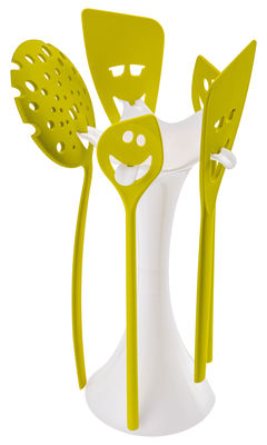 Image of Set utensili da cucina Meeting point - set 5 utensili con supporto: 1 schiumarola, 2 cucchiai, 2 spatole di Koziol - Bianco opaco,Mostarda verde - Mat
