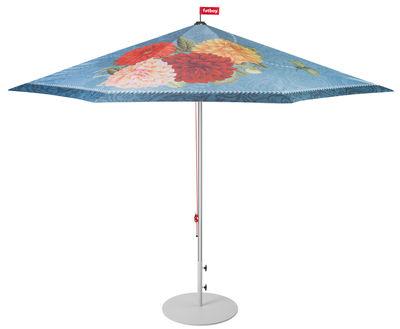 Jardin - Parasols - Parasol Parasolasido / Ø 350 cm - Fatboy - Bleu foncé / Oiseau & fleurs - Aluminium, Polyester
