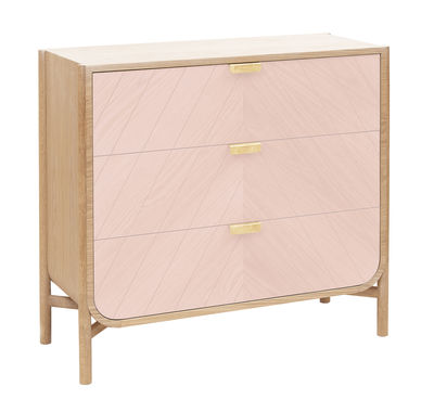 commode marius l 100 x h 90 cm rose ch ne poign es laiton hart. Black Bedroom Furniture Sets. Home Design Ideas