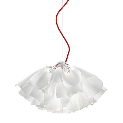 Luminaire - Suspensions - Suspension Tutu / Ø 55 cm - Papier synthétique - Panzeri - Ø 55 cm / Blanc & rouge - Aluminium peint, Papier synthétique