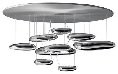 Luminaire - Plafonniers - Plafonnier Mercury / Halogène - Ø 110 cm - Artemide - Gris métal & miroir - Acier inoxydable, Aluminium