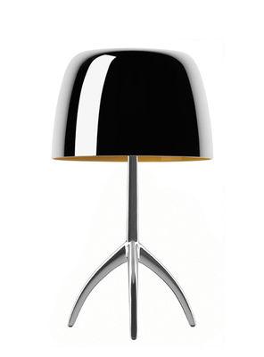 Leuchten - Tischleuchten - Lumière Piccola Tischleuchte / mit Schalter - H 35 cm - Jubiläumsedition 25 Jahre - Foscarini - Aluminium poliert / Fuß Aluminium poliert - geblasenes Glas, poliertes Aluminium