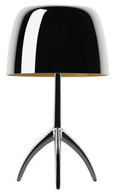 Lampe de table Lumière Grande / Variateur - H 45 cm - Edition 25 ans - Foscarini aluminium poli,noir chromé en métal
