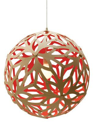 Luminaire - Suspensions - Suspension Floral / Ø 60 cm - Bicolore rouge & bois - David Trubridge - Rouge / Bois naturel - Pin