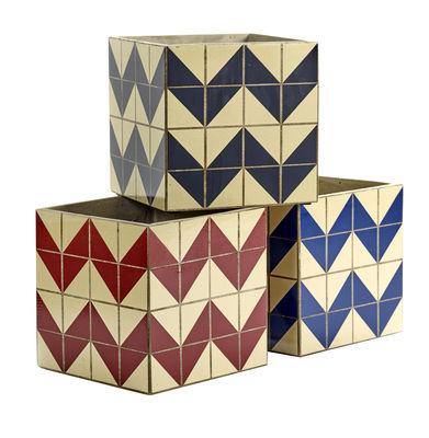 Pot Marie Zig Zag / Set de 3 - Béton émaillé - Serax bleu,rouge,bleu marine en céramique